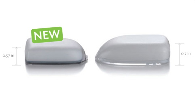 New generation OmniPod is smaller and carries same amount of insulin.